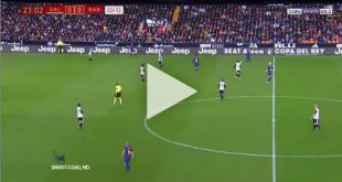 مشهد غريب لميسي في مباراة برشلونة وفالنسيا 8-2-2018