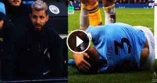 لقطة كوميدية لـ اجويرو بعد اصابة خيسوس فى مباراة مانشستر سيتي وولفرهامبتون